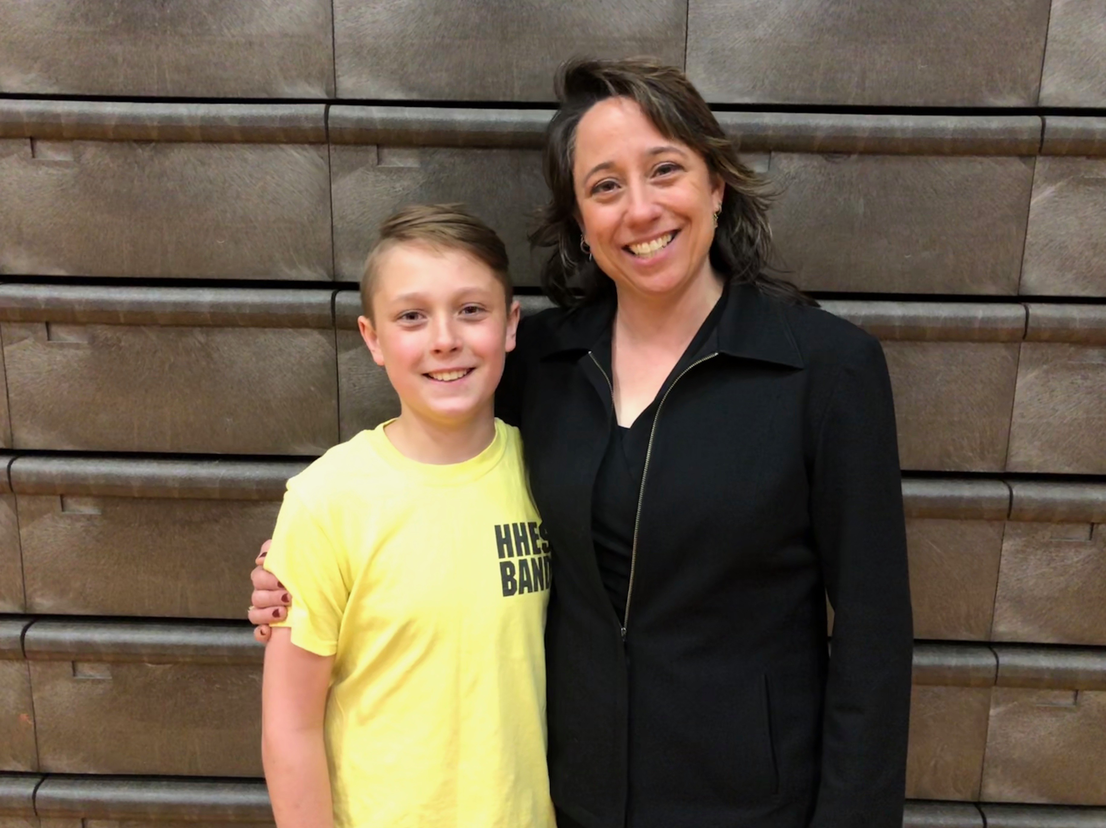 HMS Band director Jennifer Ritenburgh and her son